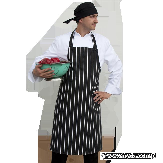 Czarny fartuch kuchenny w pasy – NOWOŚĆ