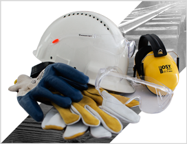 Artykuły BHP, w tym rękawice, kaski, okulary i nauszniki ochronne